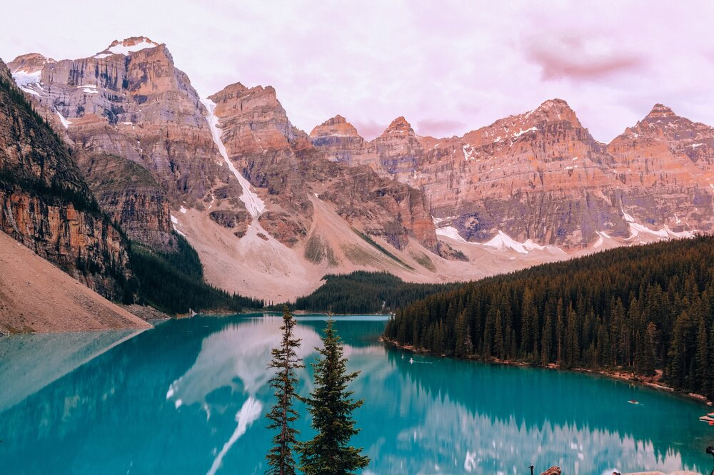 View of Moraine Lake and the Valley of 10 Peaks in Banff National Park