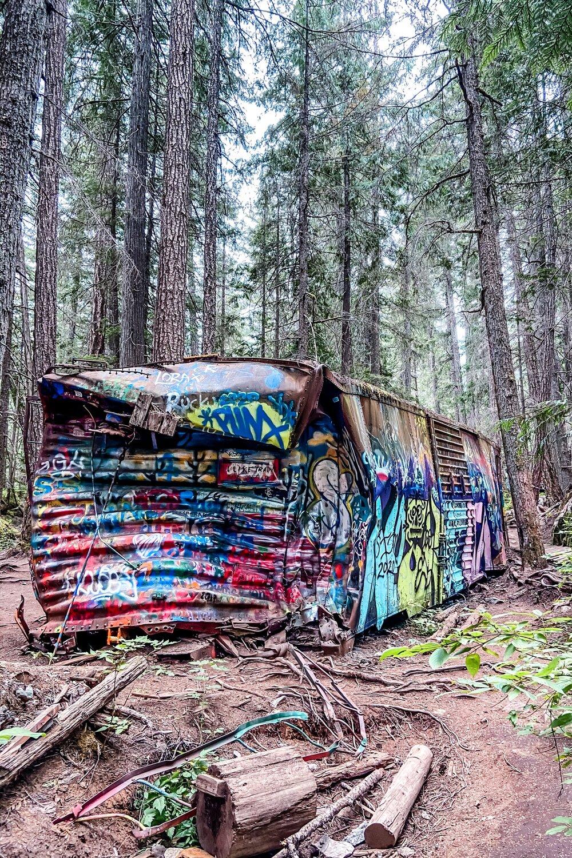 Graffiti train wreck in Whistler