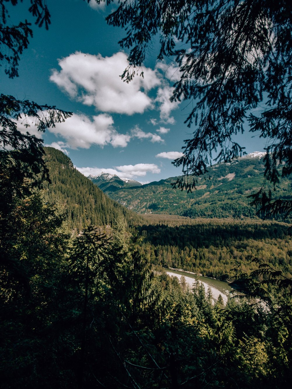 River valley views in Squamish BC near Whistler in summer and fall