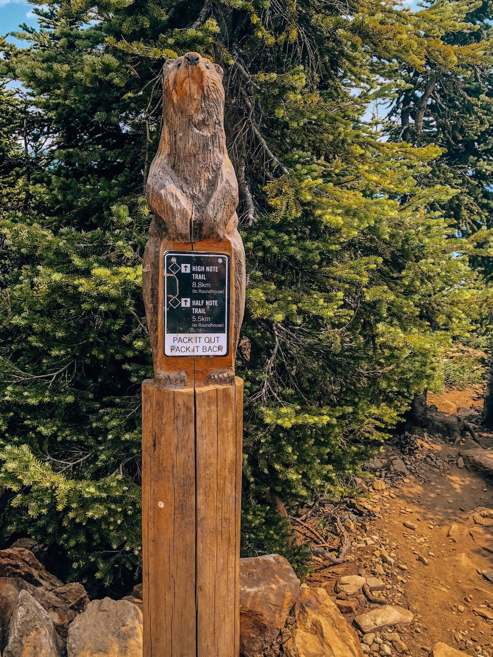Signage for Half Note Trail and High Note Trail on Whistler Blackcomb