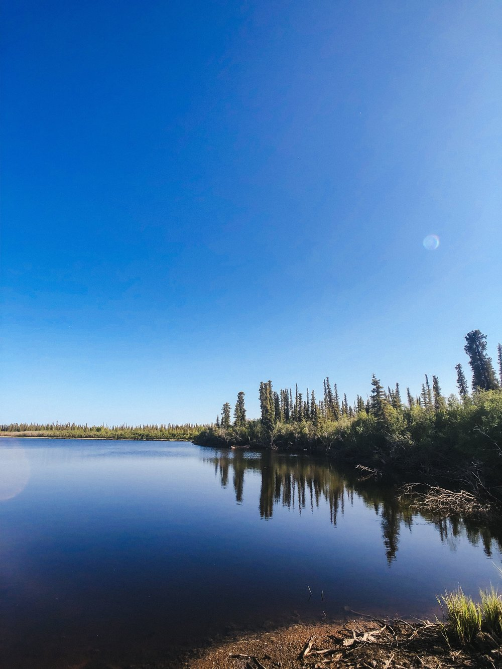 Blue Canadian lakes in Inuvik Northwest Territories