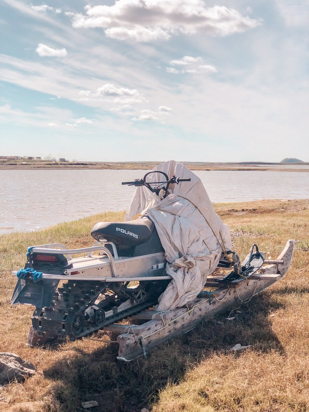 An abandoned snowmobile during summer in Canada's arctic