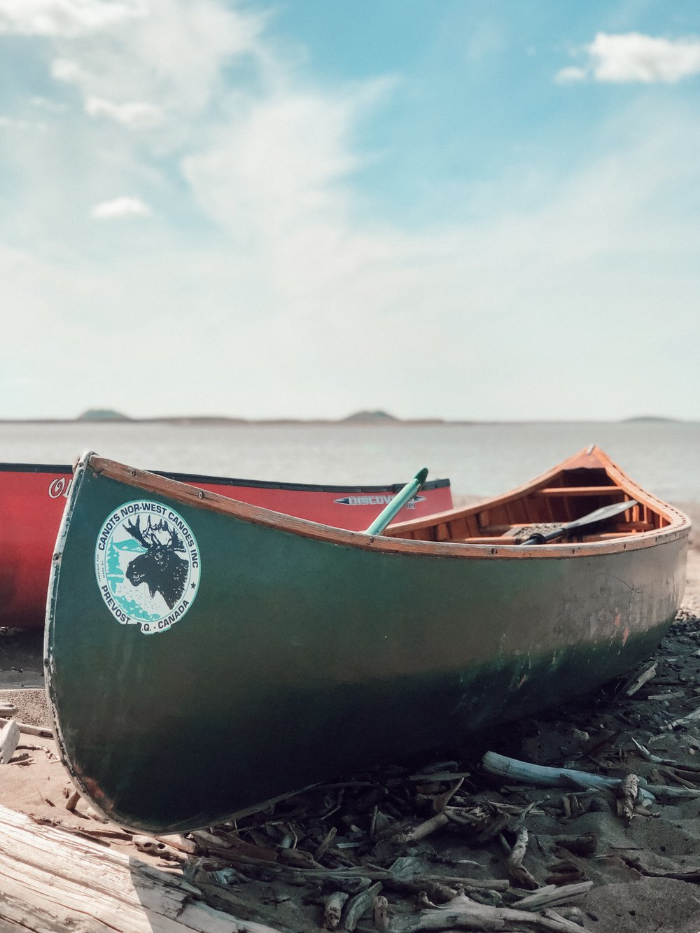 Canoes at the Arctic Ocean in Tuktoyaktuk Northwest Territories Canada