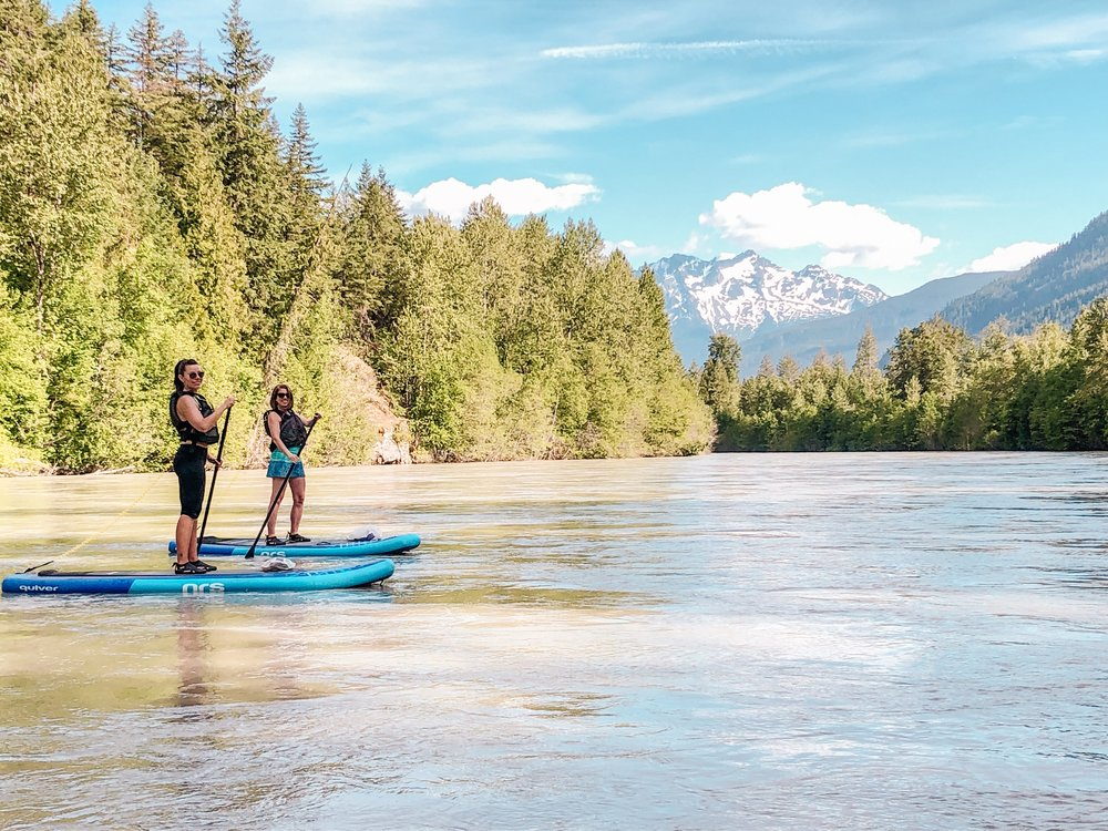 River stand up paddle boarding in Pemberton