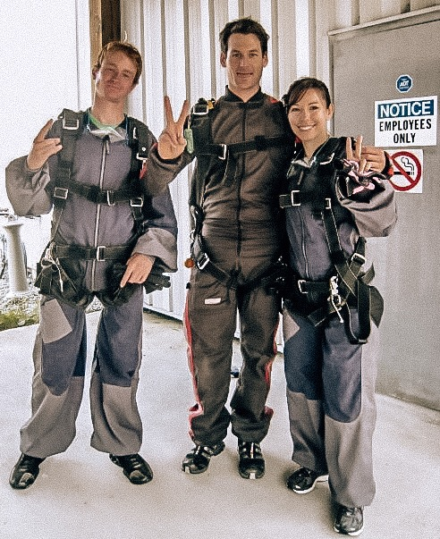 Getting ready to skydive on long weekend getaway in Whistler BC