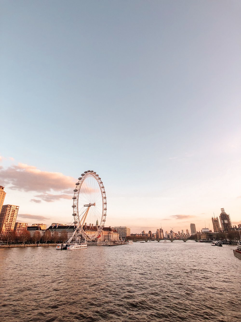 River Thames London Eye at Sunset