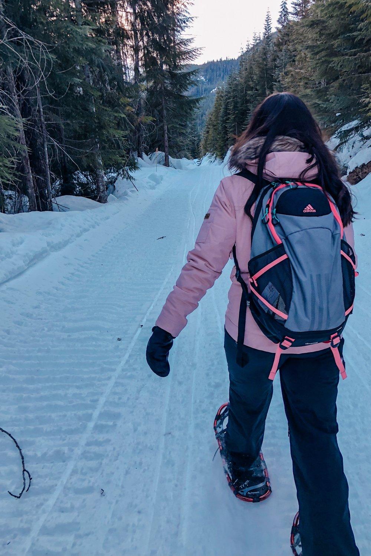 Snowshoe outdoor adventure in Whistler mountains