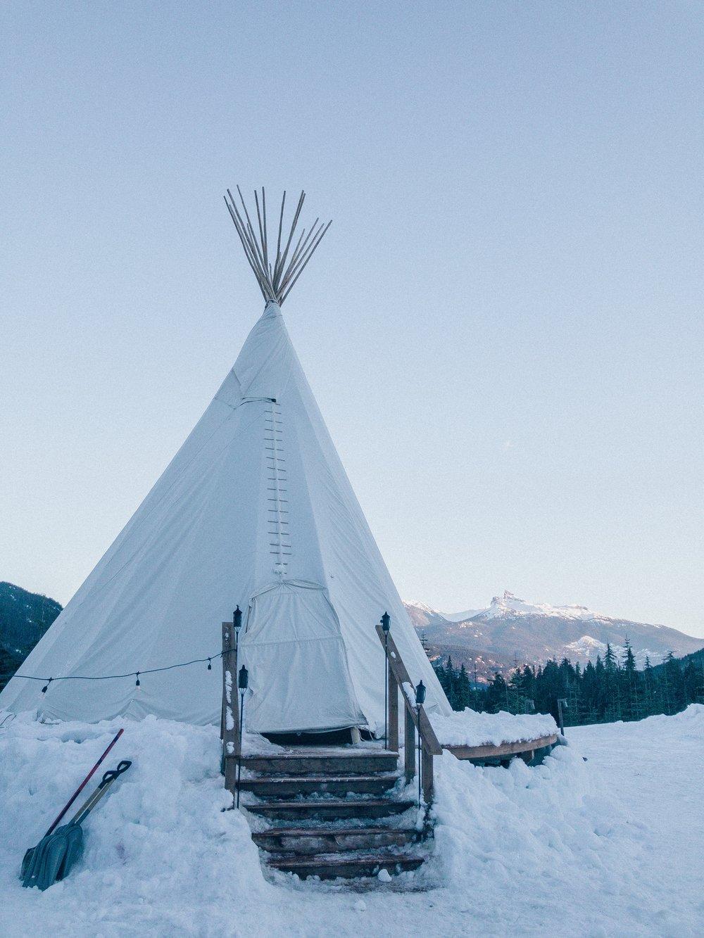 Whistler teepee in winter