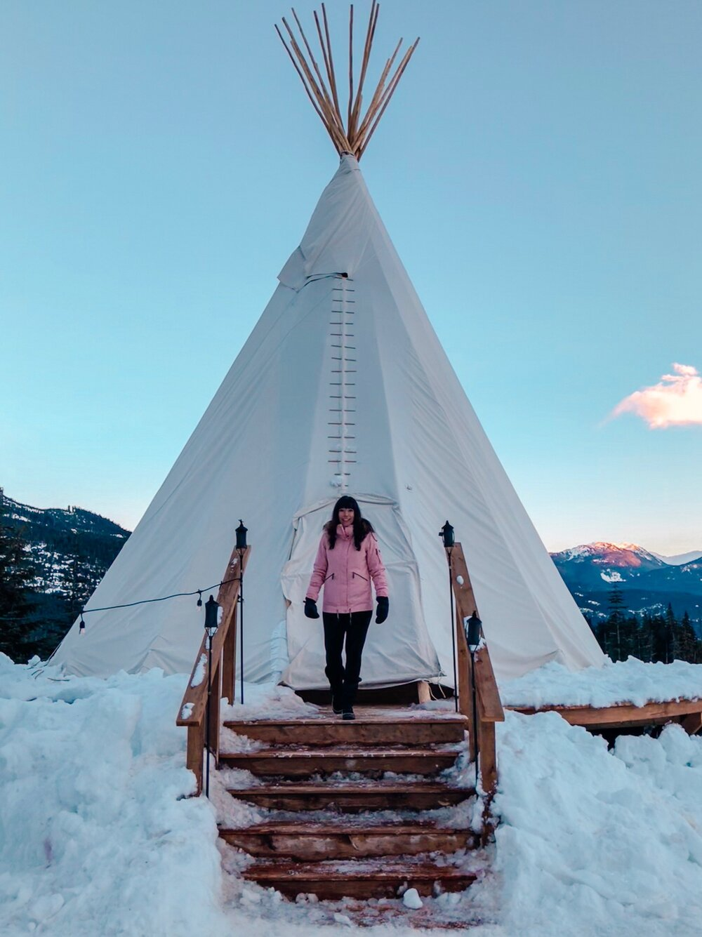 Unique snowshoe teepee tour in Whistler