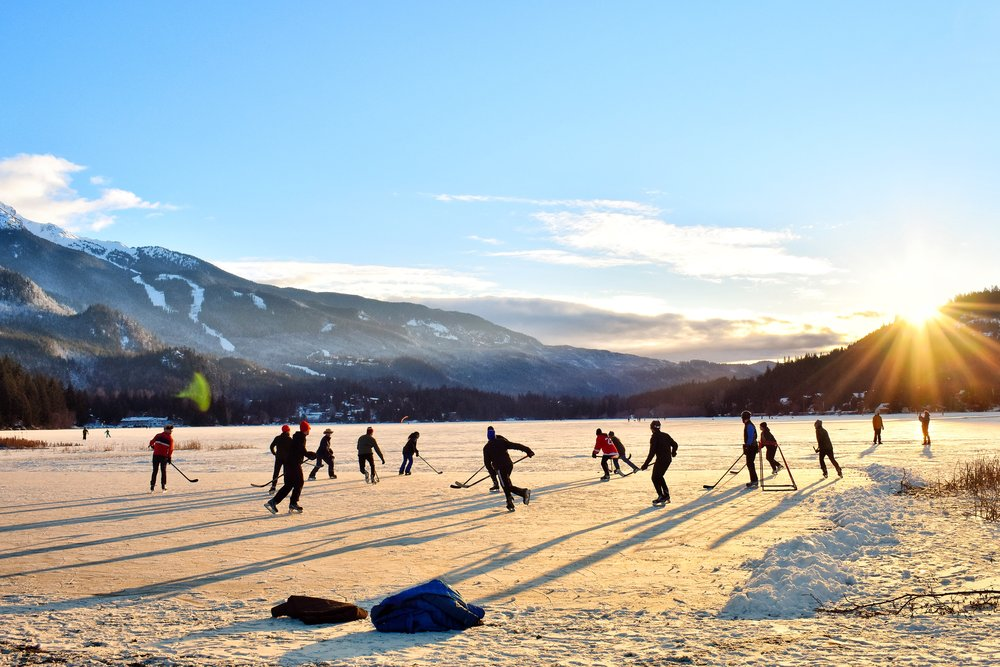 Wild Skating pond hockey in Whistler BC Canada